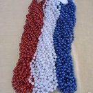 36 RED WHITE BLUE MARDI GRAS BEADS MEMORIAL 4th JULY