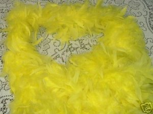YELLOW FEATHER BOA 6FT 6 FT NEW MASQUERADE DRESS UP