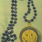MUSES BLUE SMILEY HAPPY FACE MAZE MARDI GRAS BEADS