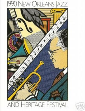 NEW ORLEANS JAZZ FESTIVAL POSTER POST CARD 1990 SHEIK