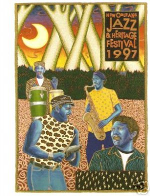 NEW ORLEANS JAZZ FESTIVAL POSTER POST CARD 1997 NEVILLE
