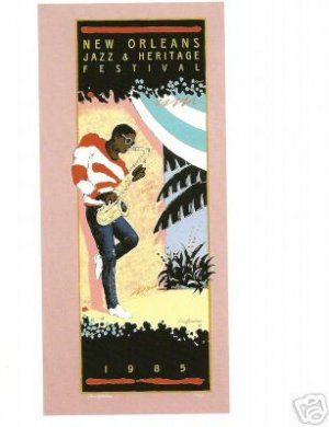 NEW ORLEANS JAZZ FESTIVAL POSTER POSTCARD 1985 NEW
