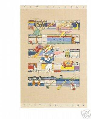 NEW ORLEANS JAZZ FESTIVAL POSTER POSTCARD 1984 NEW