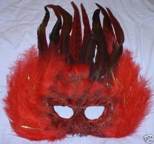 Red black feather Sequin Masquerade Mask