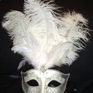 WHITE SILVER JEWELED  MARDI GRAS PARTY MASQUERADE MASK