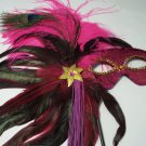 HOT PINK VENETIAN FEATHER MASK MARDI GRAS MASQUERADE PARTY BALL NEW