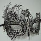 Black Rhinestone Swan Laser Cut Venetian Mask Masquerade Metal Filigree