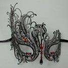 Black RED Rhinestone Swan Laser Cut Venetian Mask Masquerade Metal Filigree