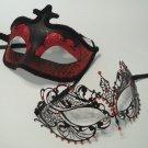 Red Black Couples Man Woman Masquerade Mardi Gras Masks Male Female Set Metal