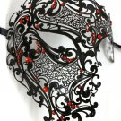 Black Red Phantom Laser Cut Venetian Mask Masquerade Metal Men Skull Filigree