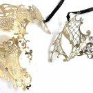 Gold Crystal Phantom Men Woman Venetian Mask Masquerade Metal Couple Masks Set
