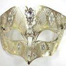 Gold Male Diamond Crystal Laser Cut Venetian Masquerade Metal Filigree Mask Men