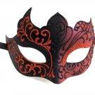 Black Red Venetian Mask Masquerade Mardi Gras Unique Style Men Adult Unisex