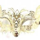 Gold Fox Cat Laser Cut Venetian Mask Masquerade Metal Filigree Crystal Golden