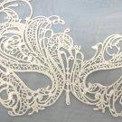 White Swan Venetian Mask Masquerade Fabric Macrame Filigree Halloween Costume