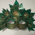 Wood Nymph Venetian Mask Masquerade Fairy Costume Green Poison Ivy Leaves Leaf