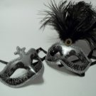 Silver Black Matching His Hers Couples Combo Masquerade Mardi Gras Masks