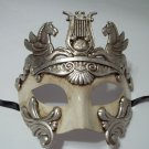White Silver Roman Warrior Greek Venetian Masquerade Mardi Gras Mens Mask