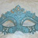 Pastel Lt Light Blue Princess Crystal Mardi Gras Masquerade Mask