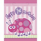 1st Birthday Ladybug Pink Party Supplies 8 ct Loot Favor Bags