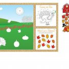 Thanksgiving or Fall Party Supplies 8 pc Fun Kids Placemat Activity Kit Stickers