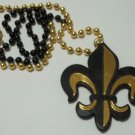 "Black Gold Fleur De Lis 36"" Bead Mardi Gras Necklace New Orleans Saints"