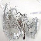 Silver Rhinestone Swan Laser Cut Venetian Mask Masquerade Metal Filigree
