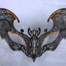 Black Gothic Bat Orange XL Venetian Mask Masquerade Metal Filigree Halloween