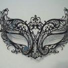 Royal Black Laser Cut Venetian Masquerade Metal Filigree Mask Rhinestone Crystal