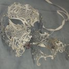 Silver Crystal Phantom Men Woman Venetian Mask Masquerade Metal Couple Masks Set