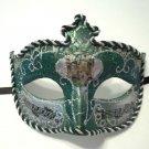 Dark Green Silver Antique Venetian Masquerade Mask