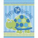 1st Birthday Blue Turtle Party Supplies 8 ct Loot Favor Bags
