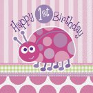 1st Birthday Ladybug Pink Party Supplies Lunch Napkins 16 ct