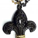 Large Black Gold Saints Fleur De Lis 3 Strand Mardi Gras Necklace Bead Beads