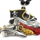 Ghastly Pirate Skull Gasparilla Fish Black Red Mardi Gras Necklace Bead Beads