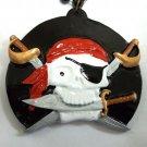 Pirate Skull Gasparilla Sword Knife Black Red Mardi Gras Necklace Bead Beads