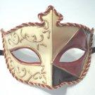 Red Gold Embossed Venetian Mardi Gras Prom Costume Mask