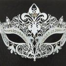 White Crystal Crown Laser Cut Venetian Mask Masquerade Metal Filigree