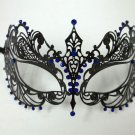 Black BLUE Crystal Beautiful Eyes Laser Cut Venetian Mask Masquerade Metal