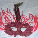 Hot Pink Wild Feather Masquerade Mardi Gras Mask