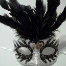 Black Silver Pearl Small Kid Venetian Masquerade Feather Mask