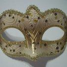 Cream Gold Brown Small Venetian Mask Masquerade Mardi Gras