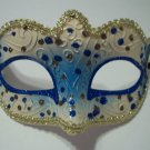Blue White Gold Small Venetian Mask Masquerade Mardi Gras