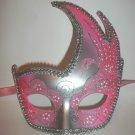 Pink Silver Masquerade Swan Flame Mask Mardi Gras Ball Dance Prom