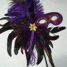 Purple Feather Masquerade Ball Decor Mardi Gras Party Stick Mask