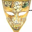 Beige Gold Bauta Venetian Mens Masquerade Costume Mask Prom Dance