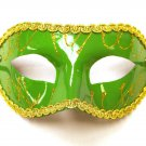 Wide Green Gold Mardi Gras Masquerade Party Value Mask