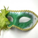 Green White Lily Flower Mardi Gras Masquerade Party Value Mask