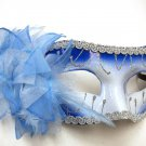 Blue White Lily Flower Mardi Gras Masquerade Party Value Mask