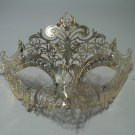 Gold Laser Cut Crystal Venetian Mask Masquerade Ball Metal Filigree Wedding